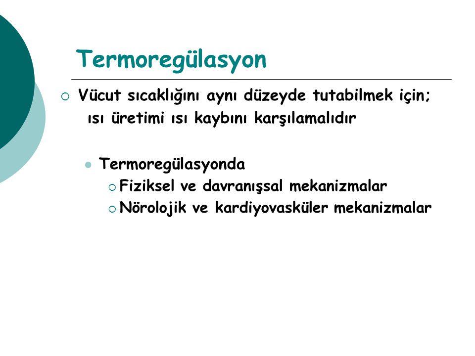 Termoregülasyon mekanizması Nörolojik kontrol Hipotalamus (Termostat) Vücut ısısındaki değişikliklere duyarlı Ön hipotalamus  Isı kaybını kontrol eder Arka hipotalamus  Isı üretimini kontrol eder