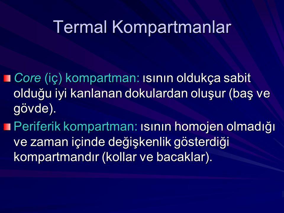 Termal Kompartmanlar Core (iç) kompartman: ısının oldukça sabit olduğu iyi kanlanan dokulardan oluşur (baş ve gövde). Periferik kompartman: ısının hom