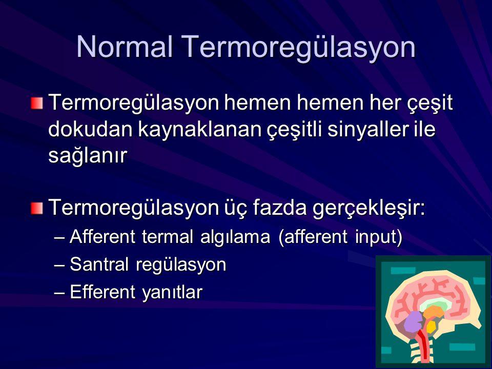 Normal Termoregülasyon Termoregülasyon hemen hemen her çeşit dokudan kaynaklanan çeşitli sinyaller ile sağlanır Termoregülasyon üç fazda gerçekleşir: