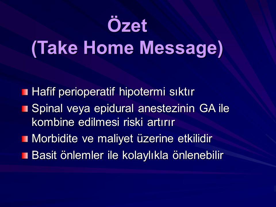 Özet (Take Home Message) Hafif perioperatif hipotermi sıktır Spinal veya epidural anestezinin GA ile kombine edilmesi riski artırır Morbidite ve maliy