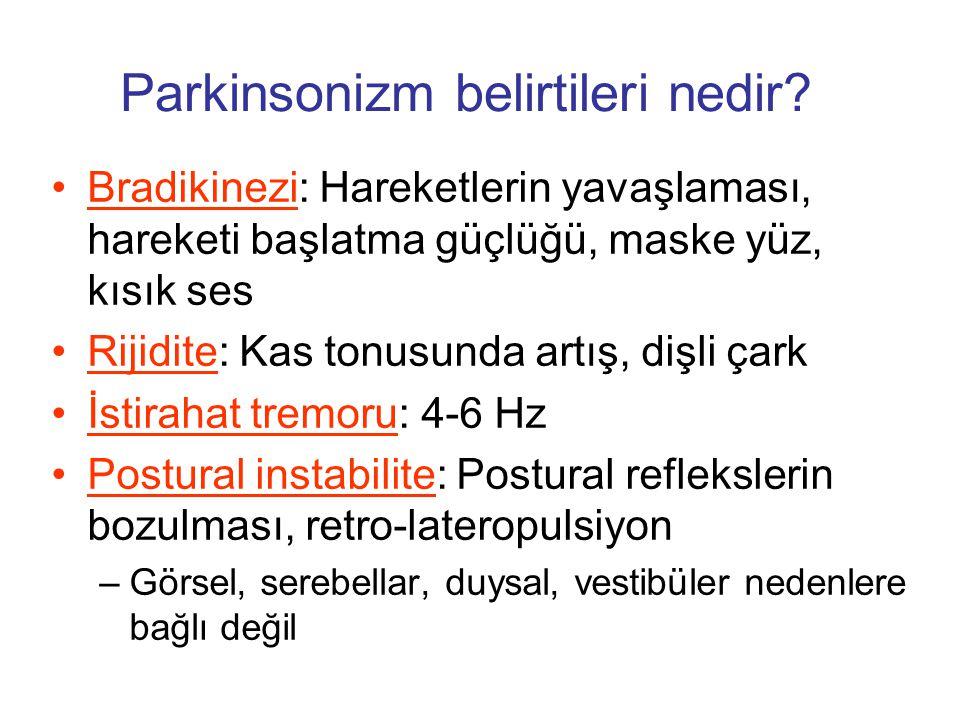 Parkinsonizm belirtileri nedir? Bradikinezi: Hareketlerin yavaşlaması, hareketi başlatma güçlüğü, maske yüz, kısık ses Rijidite: Kas tonusunda artış,