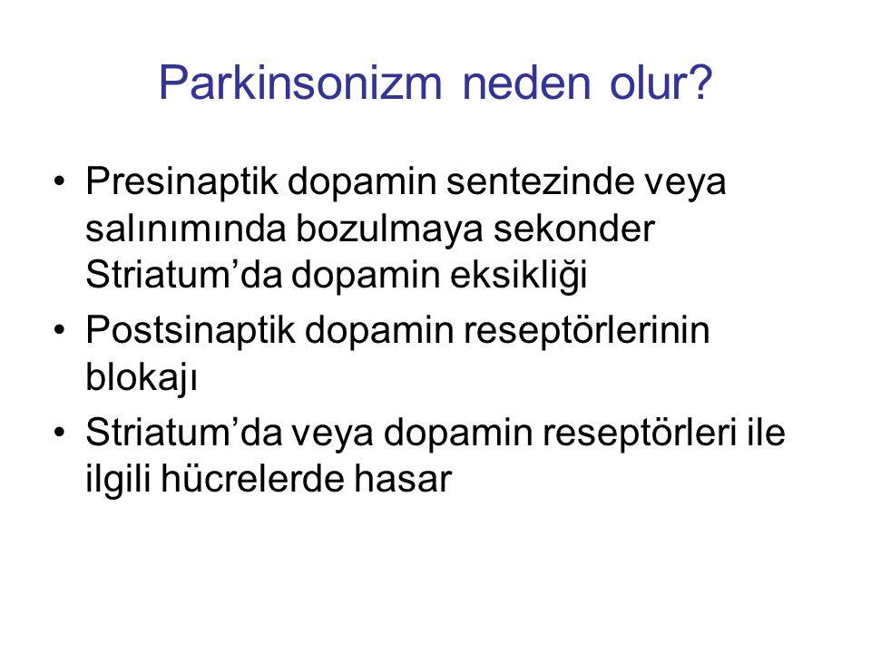 Parkinsonizm neden olur? Presinaptik dopamin sentezinde veya salınımında bozulmaya sekonder Striatum'da dopamin eksikliği Postsinaptik dopamin reseptö