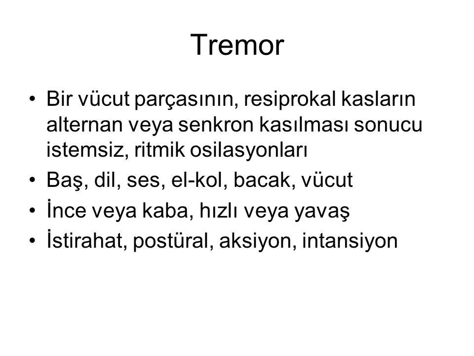 Tremor Bir vücut parçasının, resiprokal kasların alternan veya senkron kasılması sonucu istemsiz, ritmik osilasyonları Baş, dil, ses, el-kol, bacak, v