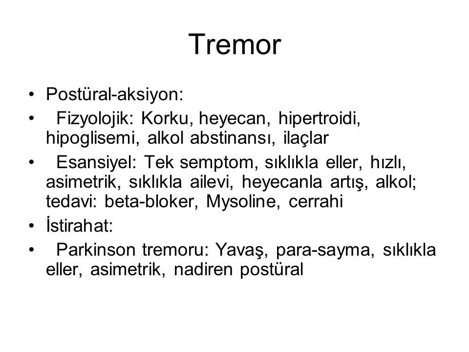 Tremor Postüral-aksiyon: Fizyolojik: Korku, heyecan, hipertroidi, hipoglisemi, alkol abstinansı, ilaçlar Esansiyel: Tek semptom, sıklıkla eller, hızlı