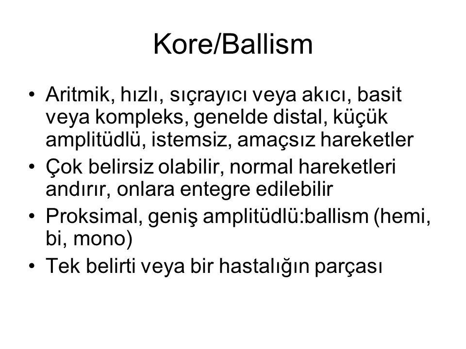 Kore/Ballism Aritmik, hızlı, sıçrayıcı veya akıcı, basit veya kompleks, genelde distal, küçük amplitüdlü, istemsiz, amaçsız hareketler Çok belirsiz ol