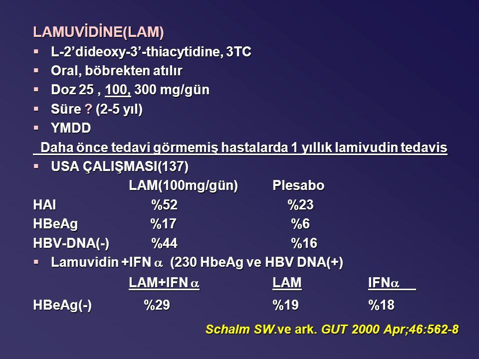 LAMUVİDİNE(LAM) §L-2'dideoxy-3'-thiacytidine, 3TC §Oral, böbrekten atılır §Doz 25, 100, 300 mg/gün §Süre .
