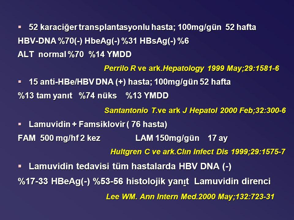 §52 karaciğer transplantasyonlu hasta; 100mg/gün 52 hafta HBV-DNA %70(-) HbeAg(-) %31 HBsAg(-) %6 ALT normal %70 %14 YMDD Perrilo R ve ark.Hepatology 1999 May;29:1581-6 Perrilo R ve ark.Hepatology 1999 May;29:1581-6 §15 anti-HBe/HBV DNA (+) hasta; 100mg/gün 52 hafta %13 tam yanıt %74 nüks %13 YMDD Santantonio T.ve ark J Hepatol 2000 Feb;32:300-6 Santantonio T.ve ark J Hepatol 2000 Feb;32:300-6 §Lamuvidin + Famsiklovir ( 76 hasta) FAM 500 mg/hf 2 kezLAM 150mg/gün 17 ay Hultgren C ve ark.Clın Infect Dis 1999;29:1575-7 Hultgren C ve ark.Clın Infect Dis 1999;29:1575-7 §Lamuvidin tedavisi tüm hastalarda HBV DNA (-) %17-33 HBeAg(-) %53-56 histolojik yan ı t Lamuvidin direnci Lee WM.