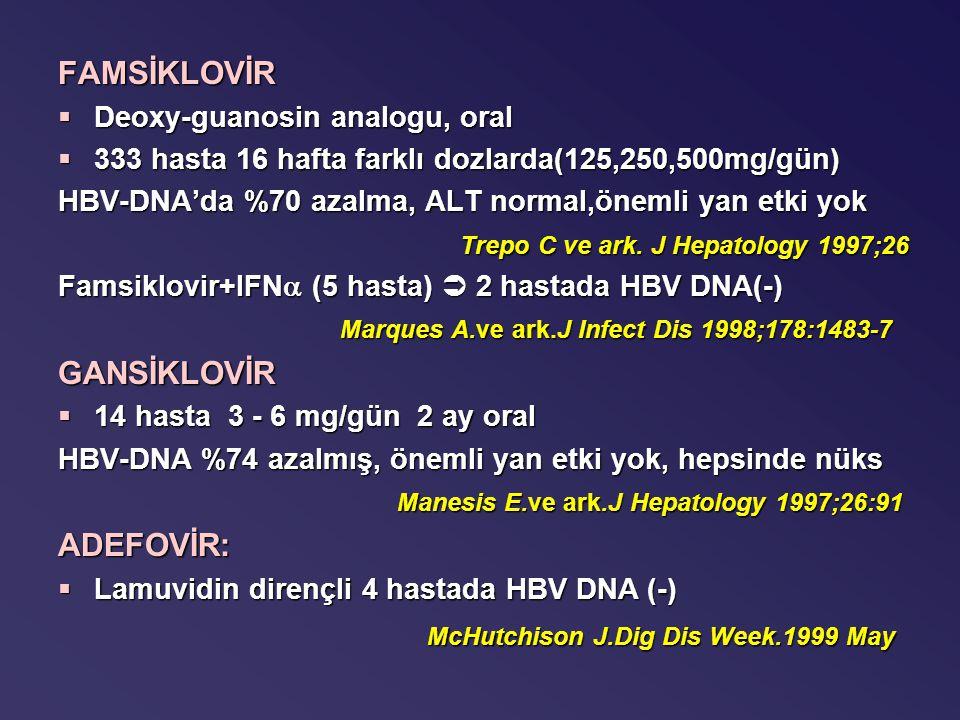 FAMSİKLOVİR §Deoxy-guanosin analogu, oral §333 hasta 16 hafta farklı dozlarda(125,250,500mg/gün) HBV-DNA'da %70 azalma, ALT normal,önemli yan etki yok Trepo C ve ark.