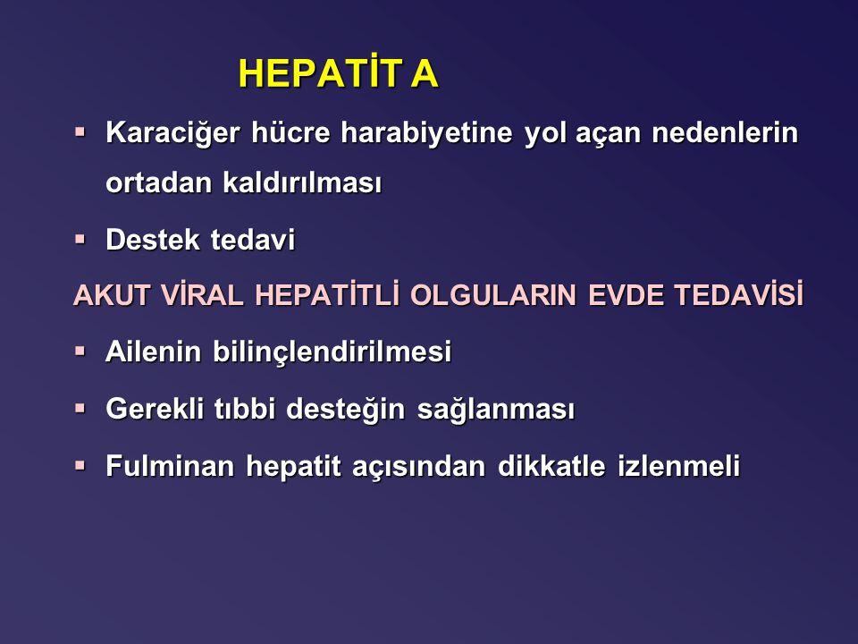 HEPATİT A §Karaciğer hücre harabiyetine yol açan nedenlerin ortadan kaldırılması §Destek tedavi AKUT VİRAL HEPATİTLİ OLGULARIN EVDE TEDAVİSİ §Ailenin bilinçlendirilmesi §Gerekli tıbbi desteğin sağlanması  Fulminan hepatit açısından dikkatle izlenmeli