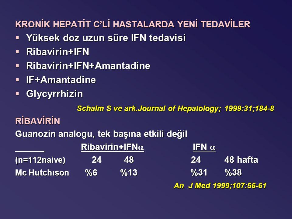 KRONİK HEPATİT C'Lİ HASTALARDA YENİ TEDAVİLER §Yüksek doz uzun süre IFN tedavisi §Ribavirin+IFN §Ribavirin+IFN+Amantadine §IF+Amantadine §Glycyrrhizin Schalm S ve ark.Journal of Hepatology; 1999:31;184-8 Schalm S ve ark.Journal of Hepatology; 1999:31;184-8RİBAVİRİN Guanozin analogu, tek başına etkili değil Ribavirin+IFN  IFN  Ribavirin+IFN  IFN  (n=112naive) 24 48 24 48 hafta Mc Hutchıson %6 %13%31 %38 An J Med 1999;107:56-61 An J Med 1999;107:56-61
