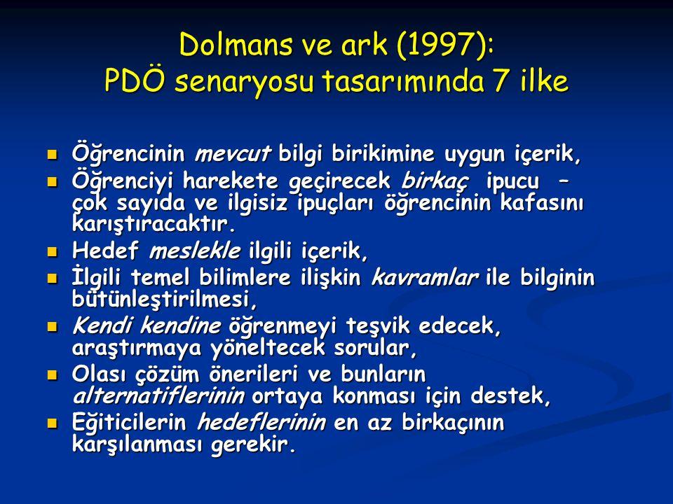 Dolmans ve ark (1997): PDÖ senaryosu tasarımında 7 ilke Öğrencinin mevcut bilgi birikimine uygun içerik, Öğrencinin mevcut bilgi birikimine uygun içerik, Öğrenciyi harekete geçirecek birkaç ipucu – çok sayıda ve ilgisiz ipuçları öğrencinin kafasını karıştıracaktır.