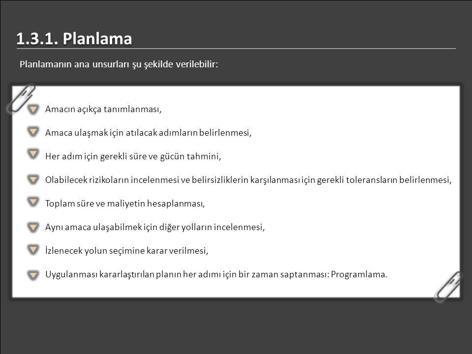 Planlamanın ana unsurları şu şekilde verilebilir: 1.3.1. Planlama Amacın açıkça tanımlanması, Amaca ulaşmak için atılacak adımların belirlenmesi, Her