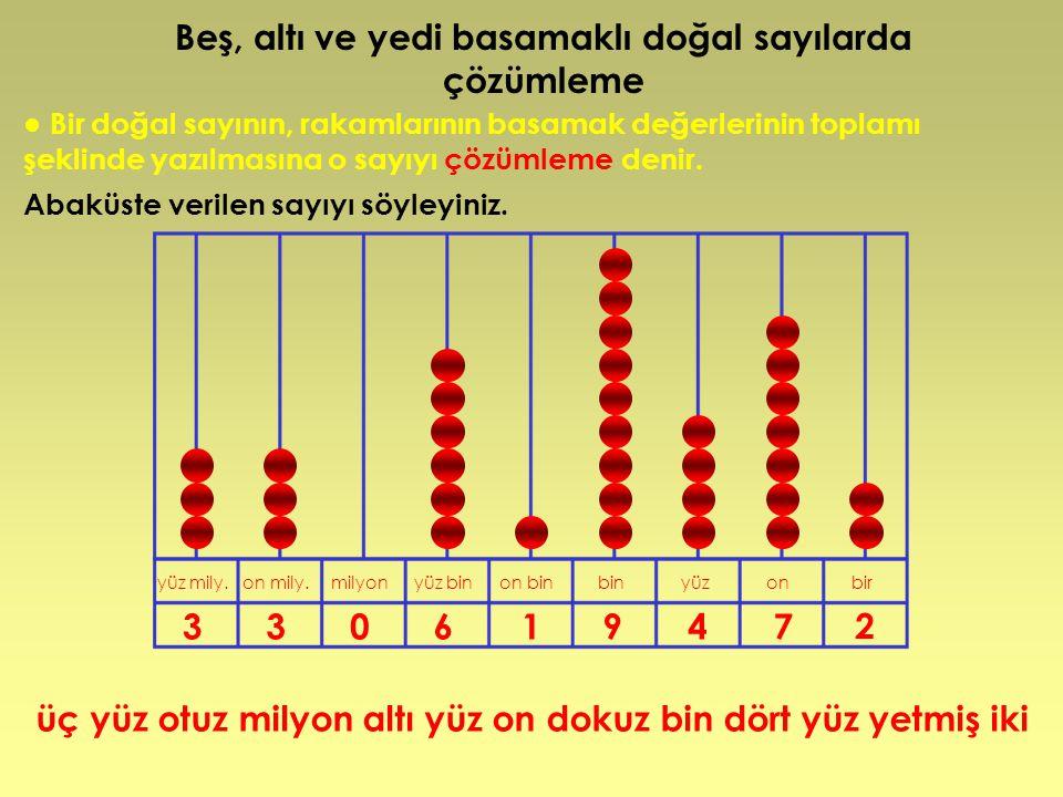 ● Bir doğal sayının, rakamlarının basamak değerlerinin toplamı şeklinde yazılmasına o sayıyı çözümleme denir. Abaküste verilen sayıyı söyleyiniz. üç y