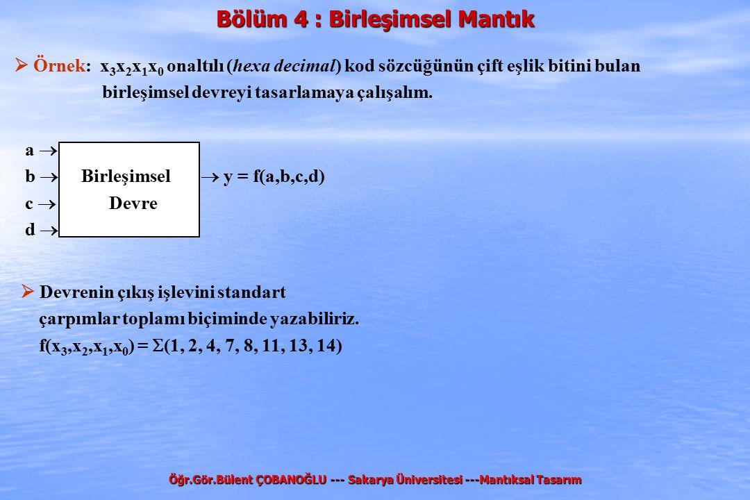 Bölüm 4 : Birleşimsel Mantık Öğr.Gör.Bülent ÇOBANOĞLU --- Sakarya Üniversitesi ---Mantıksal Tasarım  Örnek: x 3 x 2 x 1 x 0 onaltılı (hexa decimal) k