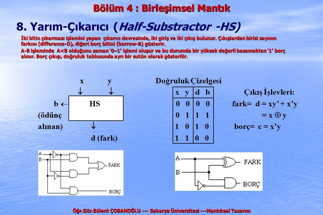 Bölüm 4 : Birleşimsel Mantık Öğr.Gör.Bülent ÇOBANOĞLU --- Sakarya Üniversitesi ---Mantıksal Tasarım 8. Yarım-Çıkarıcı (Half-Substractor -HS) x y Doğru