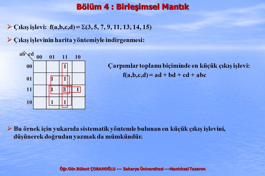 Bölüm 4 : Birleşimsel Mantık Öğr.Gör.Bülent ÇOBANOĞLU --- Sakarya Üniversitesi ---Mantıksal Tasarım  Çıkış işlevi: f(a,b,c,d) =  (3, 5, 7, 9, 11, 13