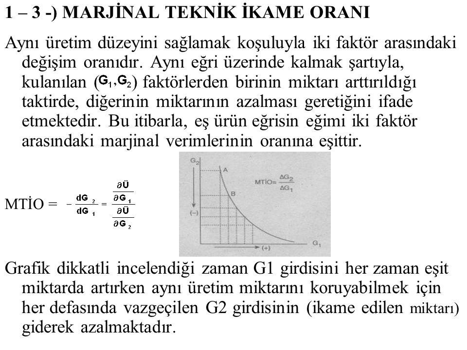 1 – 3 -) MARJİNAL TEKNİK İKAME ORANI Aynı üretim düzeyini sağlamak koşuluyla iki faktör arasındaki değişim oranıdır. Aynı eğri üzerinde kalmak şartıyl