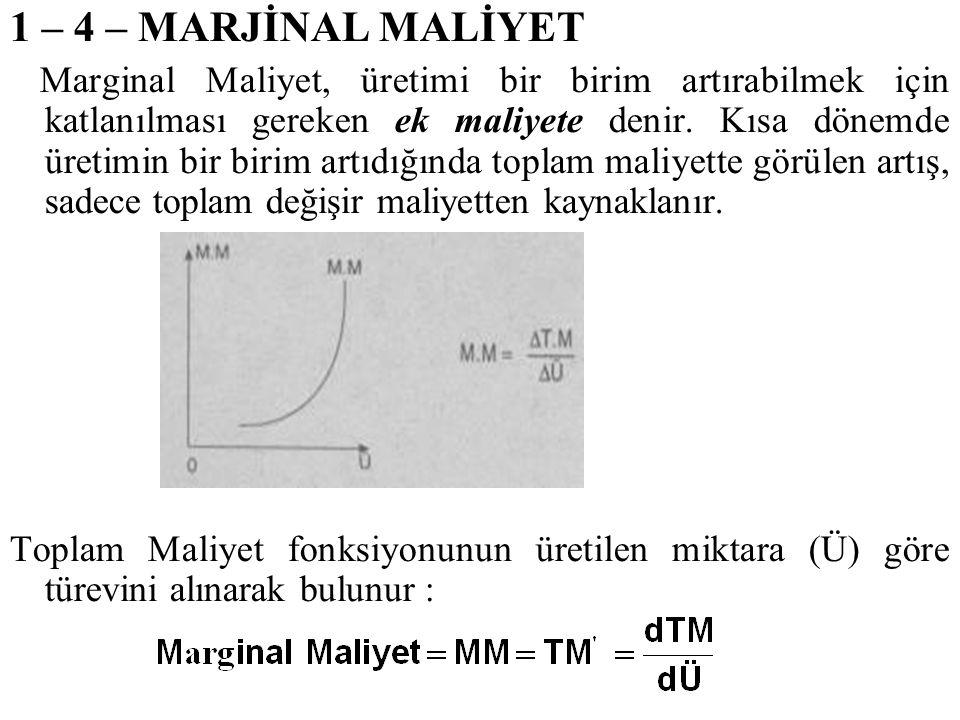 1 – 4 – MARJİNAL MALİYET Marginal Maliyet, üretimi bir birim artırabilmek için katlanılması gereken ek maliyete denir. Kısa dönemde üretimin bir birim