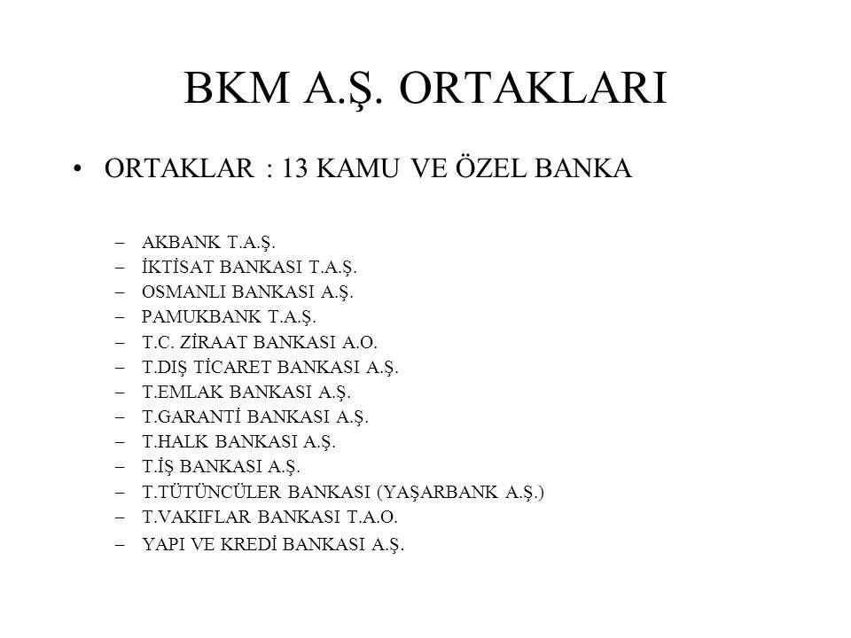 BKM A.Ş.ORTAKLARI ORTAKLAR : 13 KAMU VE ÖZEL BANKA –AKBANK T.A.Ş.