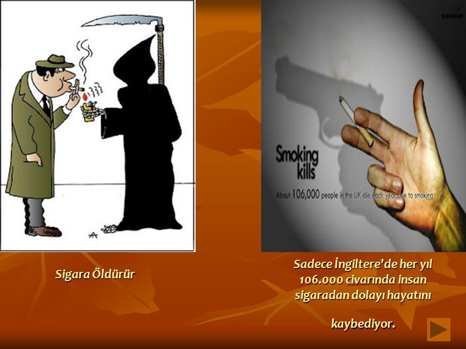 Sadece İngiltere'de her yıl 106.000 civarında insan sigaradan dolayı hayatını kaybediyor. Sigara Öldürür
