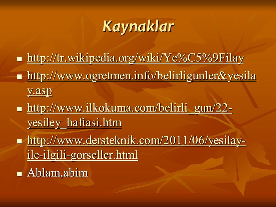 Kaynaklar http://tr.wikipedia.org/wiki/Ye%C5%9Filay http://tr.wikipedia.org/wiki/Ye%C5%9Filay http://tr.wikipedia.org/wiki/Ye%C5%9Filay http://www.ogr