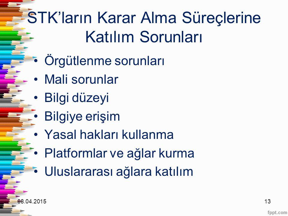 STK'ların Karar Alma Süreçlerine Katılım Sorunları Örgütlenme sorunları Mali sorunlar Bilgi düzeyi Bilgiye erişim Yasal hakları kullanma Platformlar v