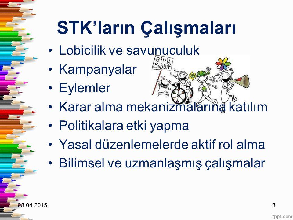 STK'ların Çalışmaları Lobicilik ve savunuculuk Kampanyalar Eylemler Karar alma mekanizmalarına katılım Politikalara etki yapma Yasal düzenlemelerde ak