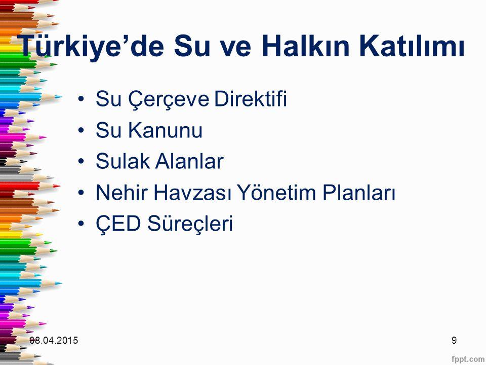 Türkiye'de Su ve Halkın Katılımı Su Çerçeve Direktifi Su Kanunu Sulak Alanlar Nehir Havzası Yönetim Planları ÇED Süreçleri 08.04.20159
