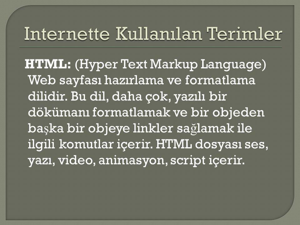 HTML: (Hyper Text Markup Language) Web sayfası hazırlama ve formatlama dilidir. Bu dil, daha çok, yazılı bir dökümanı formatlamak ve bir objeden ba ş