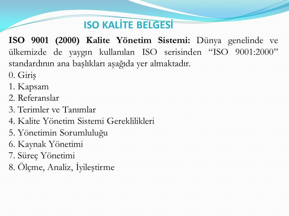 ISO KALİTE BELGESİ ISO 9001 (2000) Kalite Yönetim Sistemi: Dünya genelinde ve ülkemizde de yaygın kullanılan ISO serisinden ISO 9001:2000 standardının ana başlıkları aşağıda yer almaktadır.