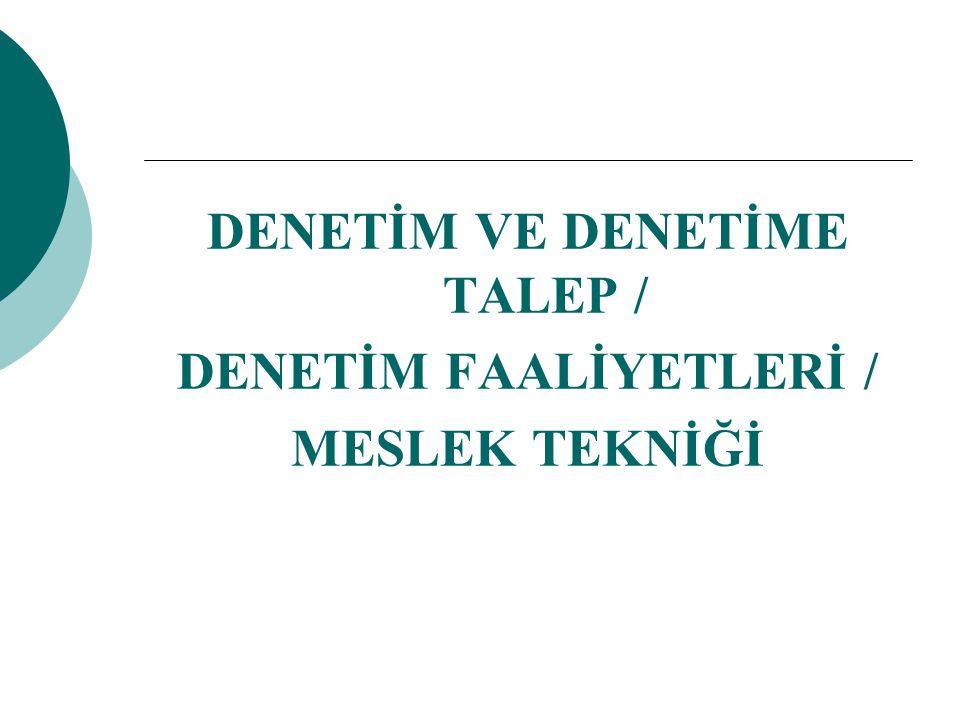 DENETİM VE DENETİME TALEP / DENETİM FAALİYETLERİ / MESLEK TEKNİĞİ