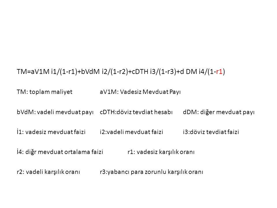 TM=aV1M i1/(1-r1)+bVdM i2/(1-r2)+cDTH i3/(1-r3)+d DM i4/(1-r1) TM: toplam maliyetaV1M: Vadesiz Mevduat Payı bVdM: vadeli mevduat payıcDTH:döviz tevdiat hesabıdDM: diğer mevduat payı İ1: vadesiz mevduat faizii2:vadeli mevduat faizii3:döviz tevdiat faizi İ4: diğr mevduat ortalama faizir1: vadesiz karşılık oranı r2: vadeli karşılık oranır3:yabancı para zorunlu karşılık oranı