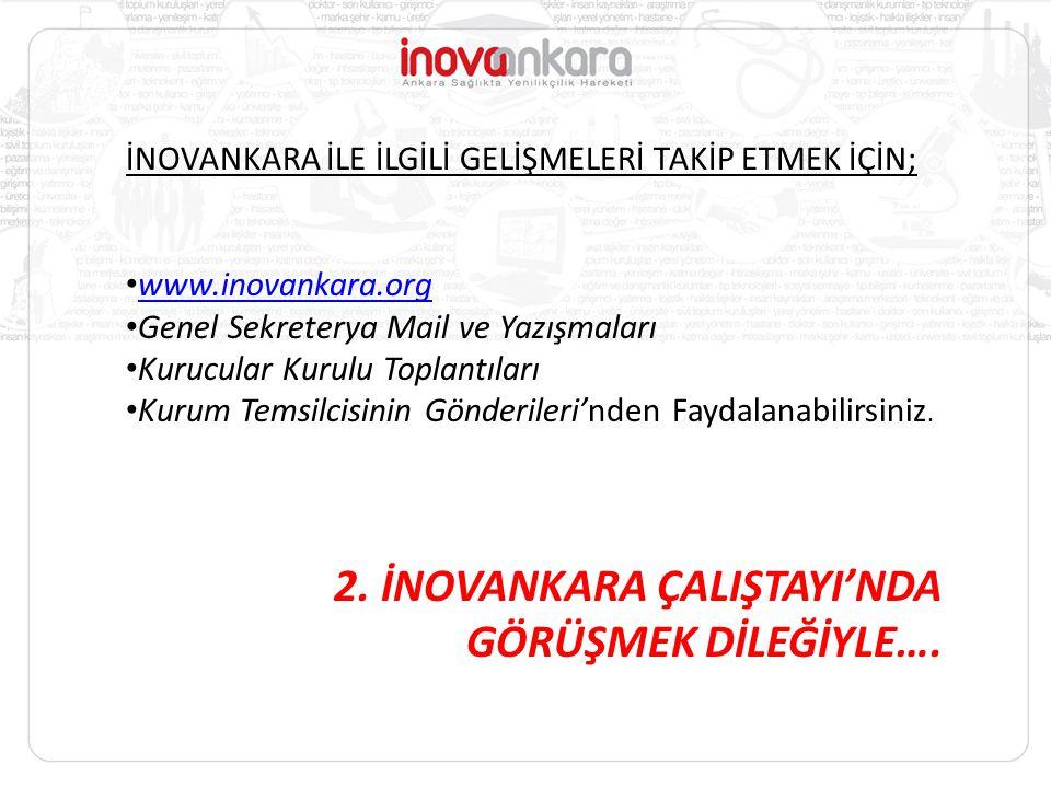 İNOVANKARA İLE İLGİLİ GELİŞMELERİ TAKİP ETMEK İÇİN; www.inovankara.org Genel Sekreterya Mail ve Yazışmaları Kurucular Kurulu Toplantıları Kurum Temsil