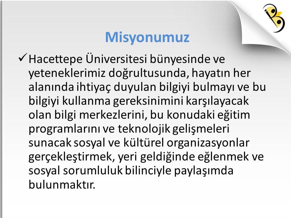 Misyonumuz Hacettepe Üniversitesi bünyesinde ve yeteneklerimiz doğrultusunda, hayatın her alanında ihtiyaç duyulan bilgiyi bulmayı ve bu bilgiyi kulla
