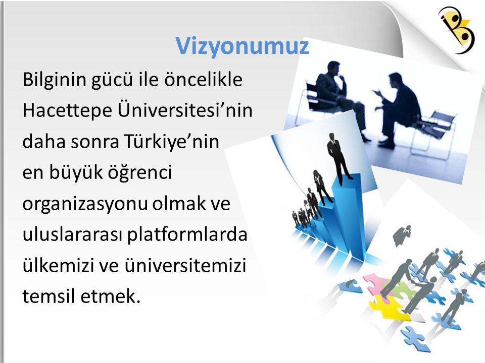 Vizyonumuz Bilginin gücü ile öncelikle Hacettepe Üniversitesi'nin daha sonra Türkiye'nin en büyük öğrenci organizasyonu olmak ve uluslararası platform