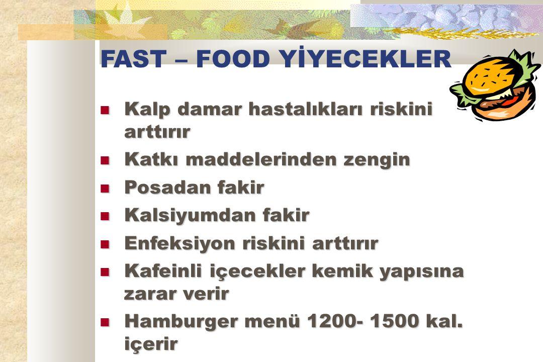 FAST – FOOD YİYECEKLER Kalp damar hastalıkları riskini arttırır Kalp damar hastalıkları riskini arttırır Katkı maddelerinden zengin Katkı maddelerinden zengin Posadan fakir Posadan fakir Kalsiyumdan fakir Kalsiyumdan fakir Enfeksiyon riskini arttırır Enfeksiyon riskini arttırır Kafeinli içecekler kemik yapısına zarar verir Kafeinli içecekler kemik yapısına zarar verir Hamburger menü 1200- 1500 kal.