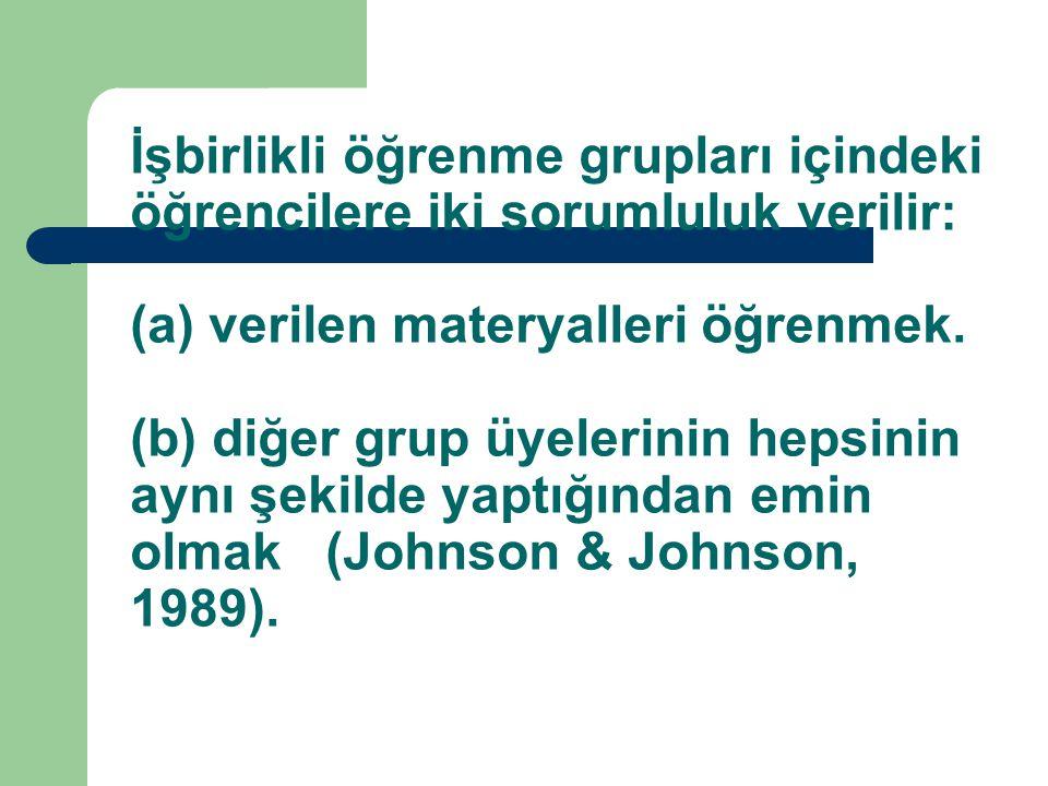 İşbirlikli öğrenme grupları içindeki öğrencilere iki sorumluluk verilir: (a) verilen materyalleri öğrenmek. (b) diğer grup üyelerinin hepsinin aynı şe