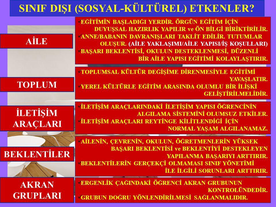 SINIF DIŞI (SOSYAL-KÜLTÜREL) ETKENLER.