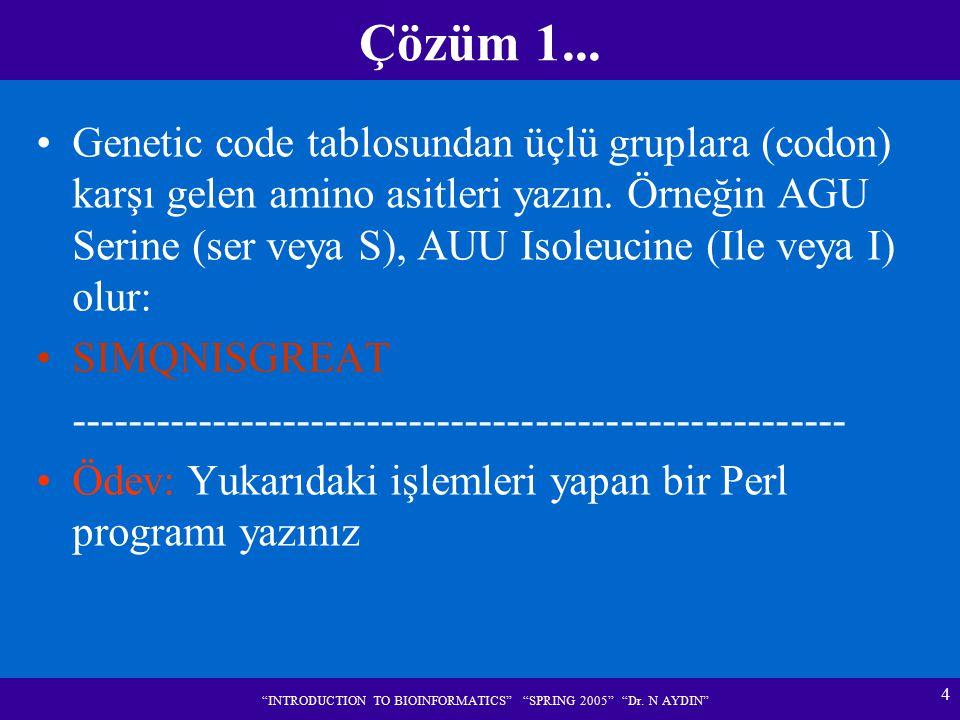 """4 """"INTRODUCTION TO BIOINFORMATICS"""" """"SPRING 2005"""" """"Dr. N AYDIN"""" Çözüm 1... Genetic code tablosundan üçlü gruplara (codon) karşı gelen amino asitleri ya"""
