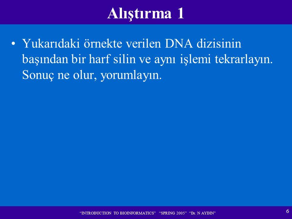 """6 """"INTRODUCTION TO BIOINFORMATICS"""" """"SPRING 2005"""" """"Dr. N AYDIN"""" Alıştırma 1 Yukarıdaki örnekte verilen DNA dizisinin başından bir harf silin ve aynı iş"""