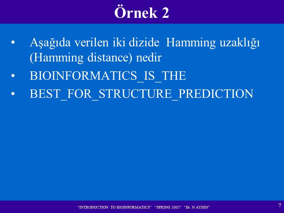 "7 ""INTRODUCTION TO BIOINFORMATICS"" ""SPRING 2005"" ""Dr. N AYDIN"" Örnek 2 Aşağıda verilen iki dizide Hamming uzaklığı (Hamming distance) nedir BIOINFORMA"