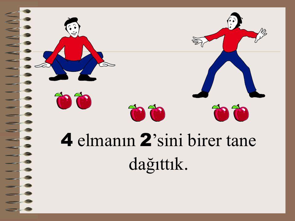 4 Elma kaldı. 6 - 2 = 4