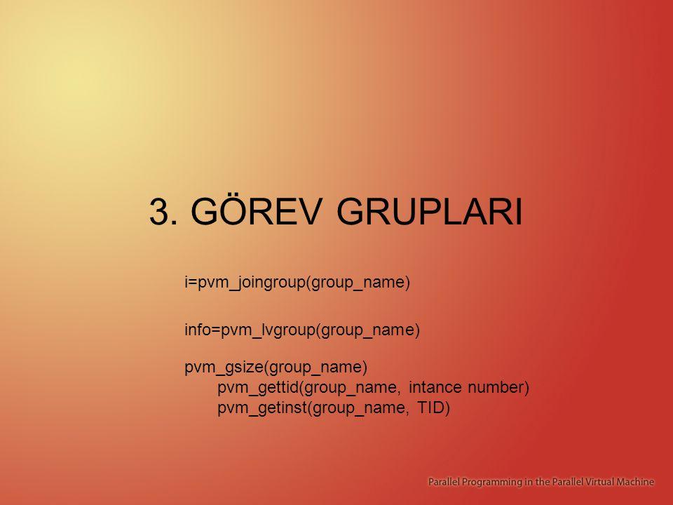 3. GÖREV GRUPLARI i=pvm_joingroup(group_name) info=pvm_lvgroup(group_name) pvm_gsize(group_name) pvm_gettid(group_name, intance number) pvm_getinst(gr