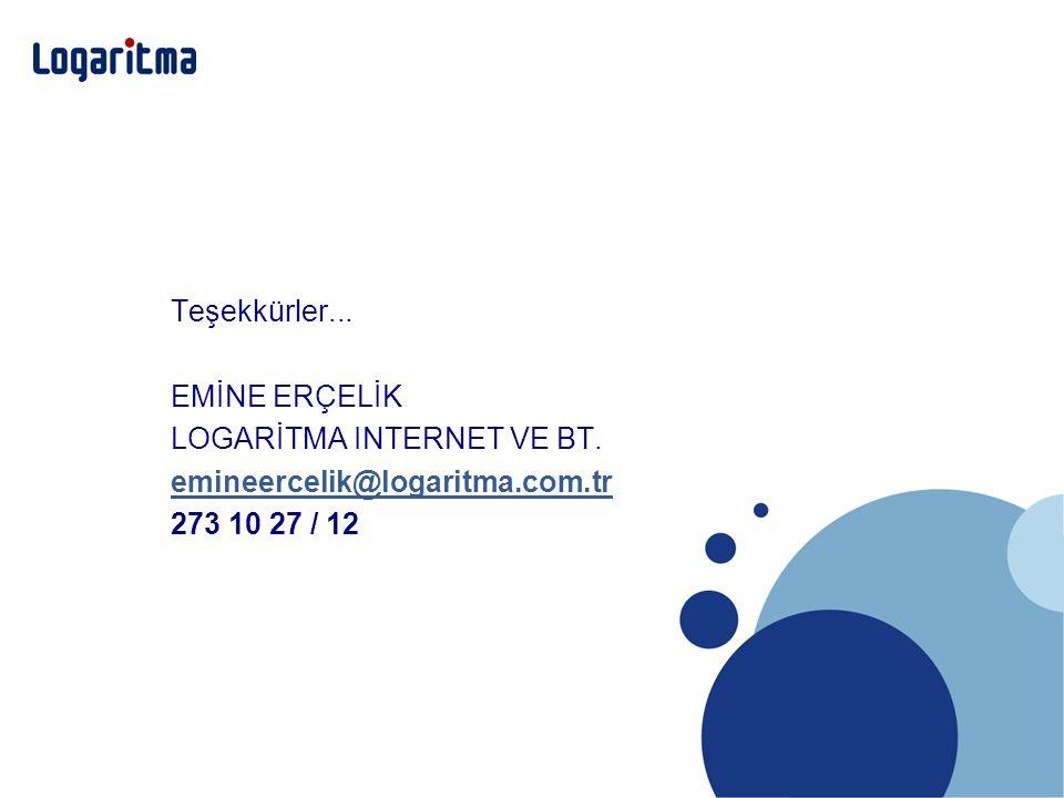 Teşekkürler... EMİNE ERÇELİK LOGARİTMA INTERNET VE BT. emineercelik@logaritma.com.tr 273 10 27 / 12