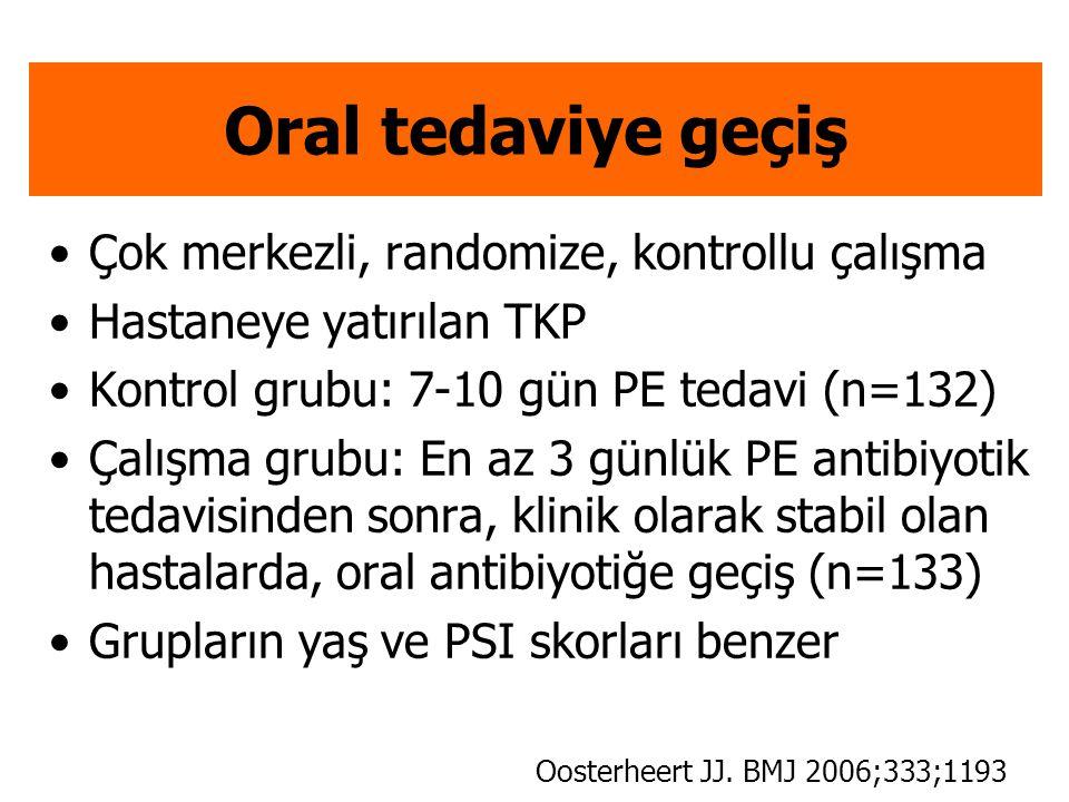 Oral tedaviye geçiş Çok merkezli, randomize, kontrollu çalışma Hastaneye yatırılan TKP Kontrol grubu: 7-10 gün PE tedavi (n=132) Çalışma grubu: En az