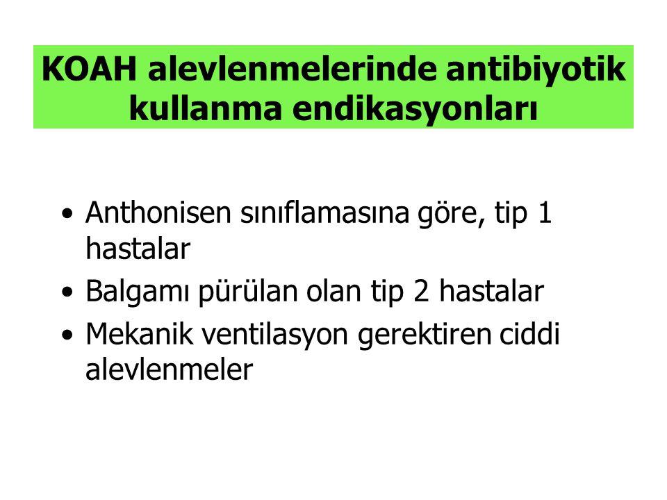 KOAH alevlenmelerinde antibiyotik kullanma endikasyonları Anthonisen sınıflamasına göre, tip 1 hastalar Balgamı pürülan olan tip 2 hastalar Mekanik ve