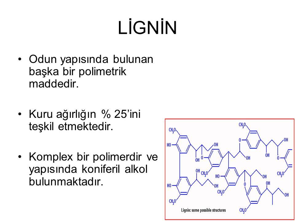 LİGNİN Odun yapısında bulunan başka bir polimetrik maddedir. Kuru ağırlığın % 25'ini teşkil etmektedir. Komplex bir polimerdir ve yapısında koniferil