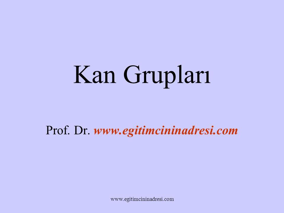 Kan Grupları Prof. Dr. www.egitimcininadresi.com www.egitimcininadresi.com
