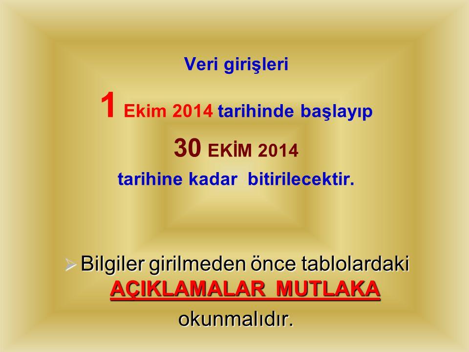  VERİ GİRİŞİNE BAŞLANMADAN ÖNCE BAKANLIĞIMIZIN 18.09.2014 GÜN VE 4023695 SAYILI YAZISI MUHAKKAK OKUNMALI, İŞLEMLER ONA GÖRE YAPILMALIDIR.