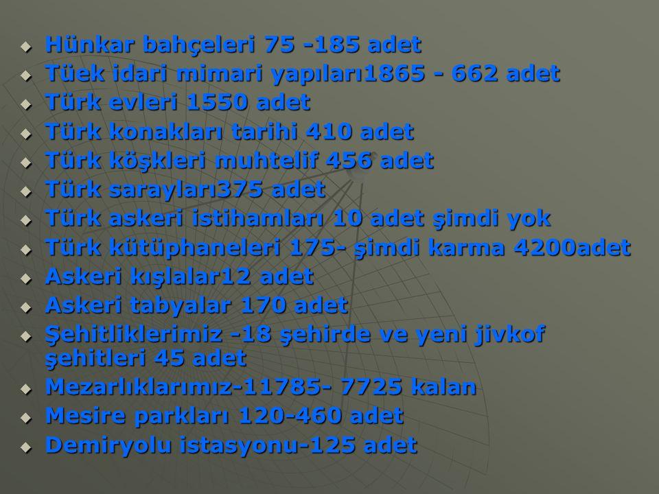  Hünkar bahçeleri 75 -185 adet  Tüek idari mimari yapıları1865 - 662 adet  Türk evleri 1550 adet  Türk konakları tarihi 410 adet  Türk köşkleri m